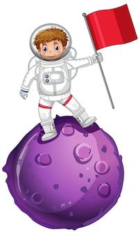 Astronaut, der auf einem planeten steht und flagge hält