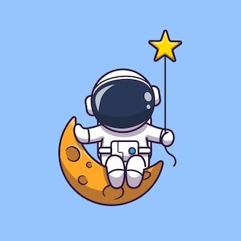 Astronaut, der auf mond-symbol-illustration sitzt. raumfahrer maskottchen zeichentrickfigur. wissenschafts-ikonen-konzept isoliert