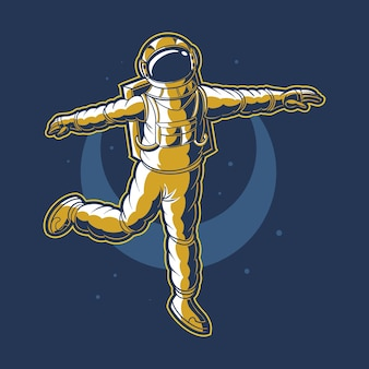 Astronaut, der auf raumvektor mit mondhintergrund tanzt