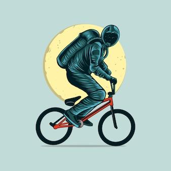 Astronaut, der bmx-fahrrad auf raum mit mondillustration reitet
