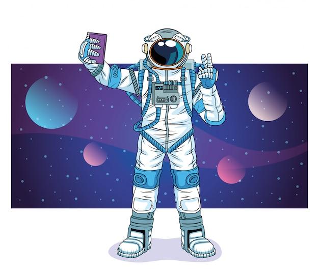 Astronaut, der ein selfie in der raumzeichenillustration nimmt