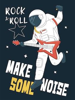 Astronaut, der gitarre im raum spielt