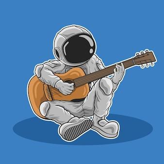 Astronaut, der gitarre spielt