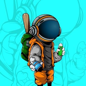 Astronaut der graffiti-künstler