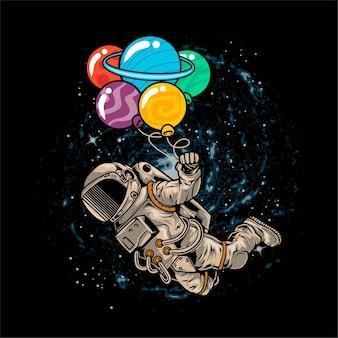 Astronaut, der im raum unter verwendung des planetenballons schwimmt