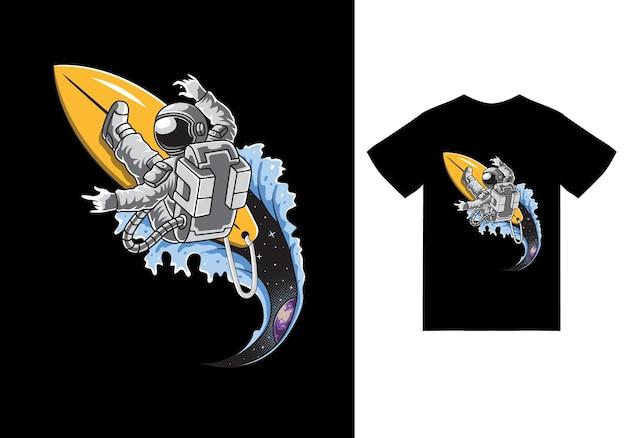 Astronaut, der in der weltraumillustration mit t-shirt-design-premiumvektor surft