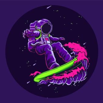 Astronaut, der in der weltraumillustration surft
