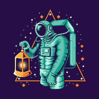 Astronaut, der laternenillustration hält