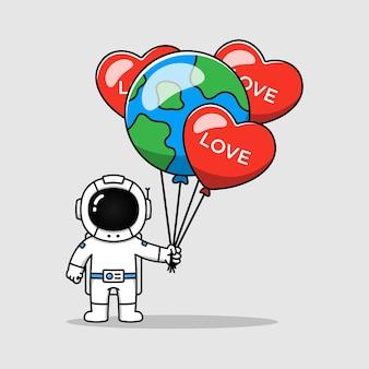 Astronaut, der liebe und erdballon trägt