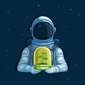 Astronaut, der pflanze auf weltraumökologie-pflanzenpflegeplanetkonzept im karikaturillustrationsvektor hält