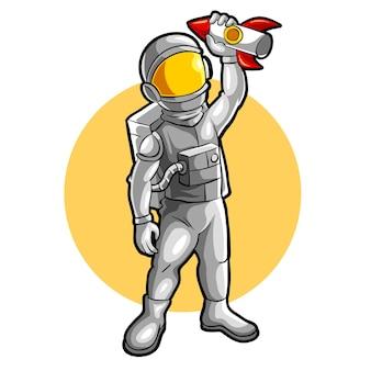 Astronaut, der raketenmaskottchen esports logo-vektorillustration spielt