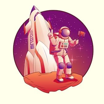 Astronaut, der selfie auf dem mond macht.