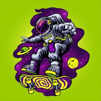 Astronaut, der skateboard im raum spielt