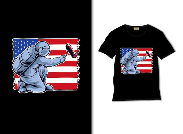 Astronaut, der usa-flaggenillustration mit t-shirt-design malt
