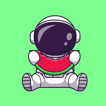 Astronaut, der wassermelone-frucht-karikatur-illustration isst. wissenschaft lebensmittelkonzept isoliert. flacher cartoon-stil