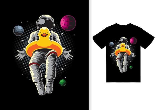 Astronaut entenballon-cartoon-illustration mit t-shirt design premium-vektor
