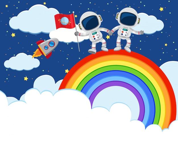 Astronaut exploring über den regenbogen
