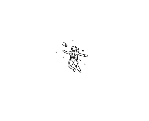 Astronaut fällt in einen raum - flat line art design illustration.