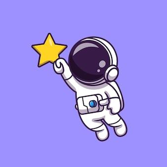 Astronaut fliegt und hält stern