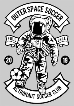 Astronaut fußball illustration