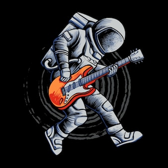 Astronaut guitar show illustration