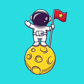 Astronaut hält flagge auf mond
