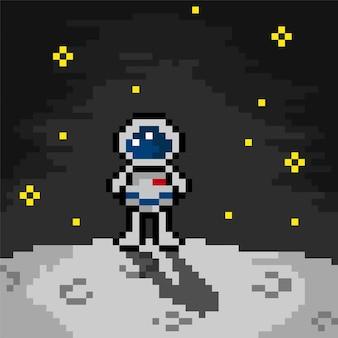 Astronaut im mond mit pixel-art-stil