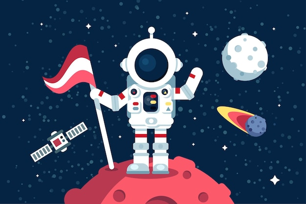 Astronaut im raumanzug, der auf mond mit flagge steht