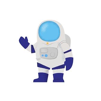 Astronaut im raumanzug, der mit der hand wellenartig bewegt. charakter, erkundung, raumfahrer.