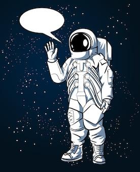 Astronaut im raumanzug im handgezeichneten stil im weltraum und in den sprechblasen. raumfahrer und wissenschaft, helmvektorillustration