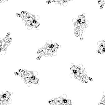 Astronaut im raumanzug nahtlose muster. kosmonaut im weltraum auf weißem hintergrund. schwarz-weiß-umriss-vektor-illustration.