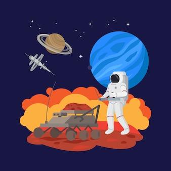 Astronaut im weltraum, bodenexperimente