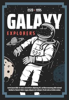Astronaut im weltraum, erforschung des universums