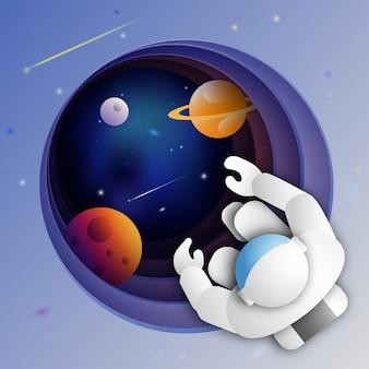 Astronaut im weltraum über dem entfernten tiefen exoplaneten