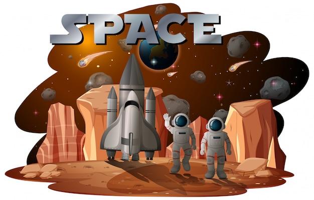 Astronaut in der weltraumszene