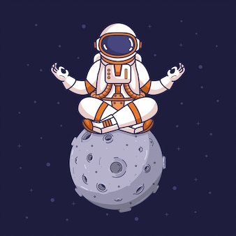 Astronaut in der yogameditationshaltung