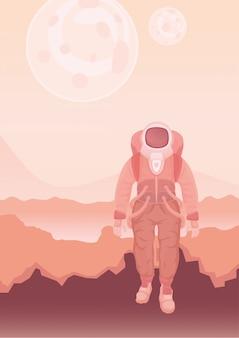 Astronaut in einem raumanzug auf dem mars oder einem anderen planeten.