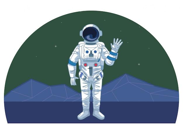 Astronaut in weltraumforschungskarikaturen