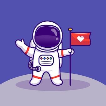 Astronaut landet auf mond, der flaggen-karikatur-vektor-symbol-illustration hält. raumfahrt-technologie-symbol-konzept isolierter premium-vektor. flacher cartoon-stil