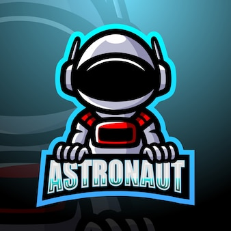 Astronaut maskottchen esport illustration