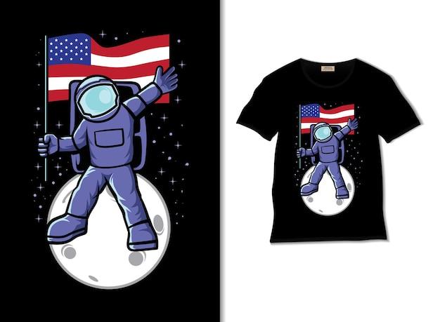 Astronaut mit amerikanischer flagge auf der mondillustration mit t-shirt-design holding