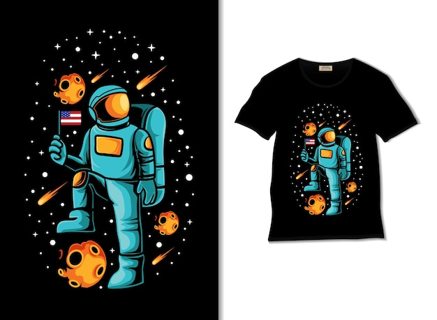 Astronaut mit amerikanischer flaggenillustration mit t-shirt-design