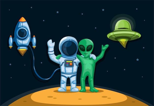 Astronaut mit außerirdischer freundschaft, die auf dem planeten mit raumschiff und ufo-konzept im cartoon-illustrationsvektor steht
