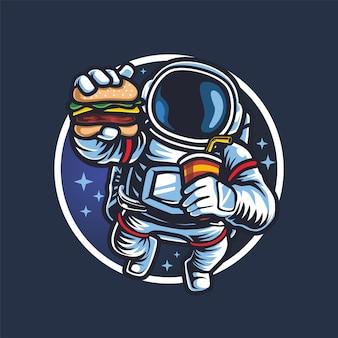 Astronaut mit burger und softdrink esport-logo-maskottchen-vektor
