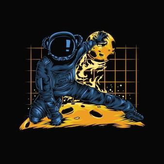 Astronaut mit dem ball des planeten