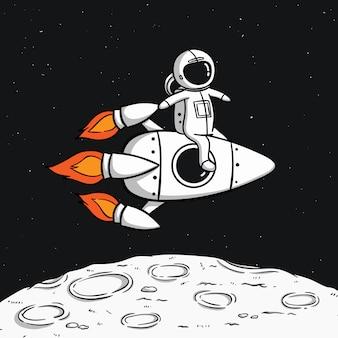 Astronaut mit der weltraumrakete, die auf den mond schwimmt