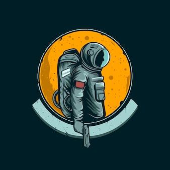 Astronaut mit einem waffenemblem
