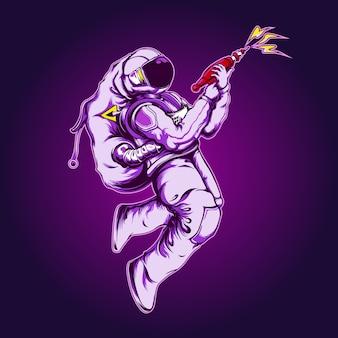 Astronaut mit einer waffenillustration