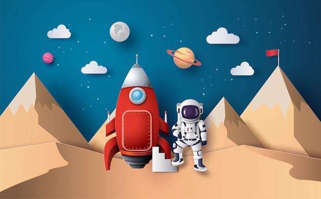 Astronaut mit flagge auf dem mond, papierkunst und digitaler handwerksart.