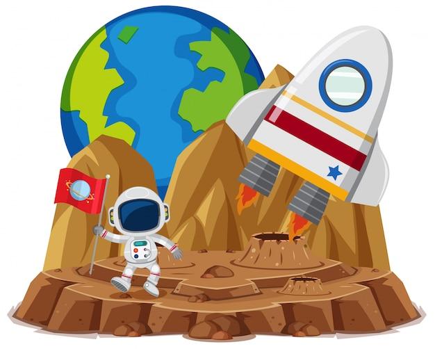 Astronaut mit flagge im planetenkarikaturstil auf weiß